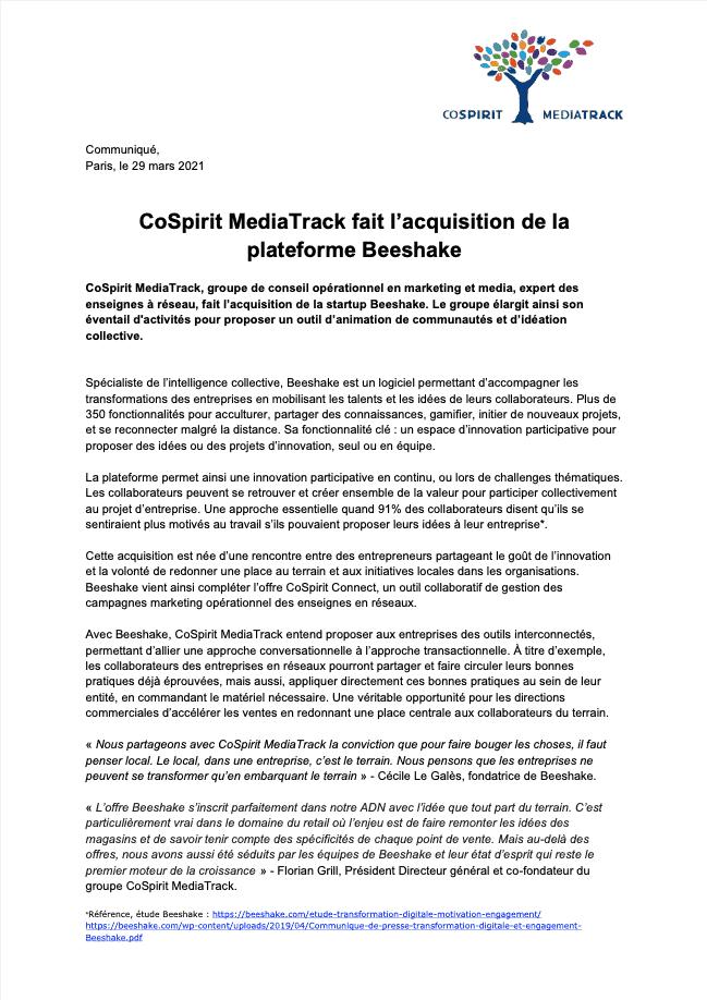 CoSpirit MediaTrack fait l'acquisition de la plateforme Beeshake